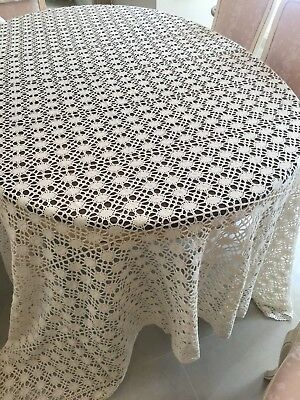 """Vintage Hand Made Crocheted Bedspread Bed Cover Cream Ecru appr 99""""x87"""""""