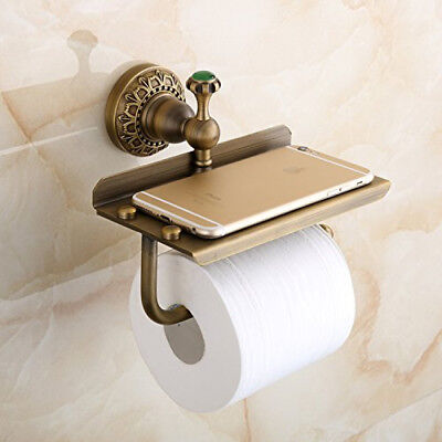 Wall-mounted Toilet Roll Holder Paper Tissue Phone Shelf Antique Brass Lion Ver