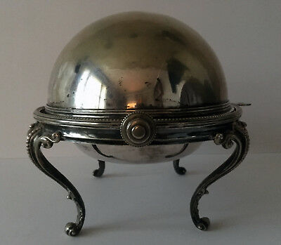 Antique Victorian Prince of Wales Armorial Silverplate Serving Dish Revolvin Top