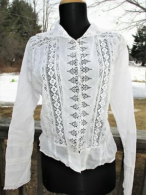 ANTIQUE VINTAGE Edwardian White Cotton Batiste BLOUSE Top GORGEOUS LACE