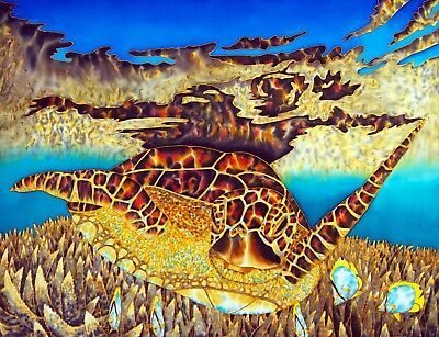 Jean-Baptiste Original Batik Silk Painting Of Sea Turtle & Coral