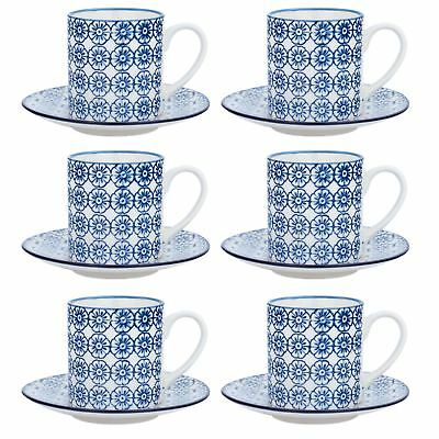 Espresso Cups & Saucers Patterned Coffee Set - Blue Flower Print x6 - 65ml