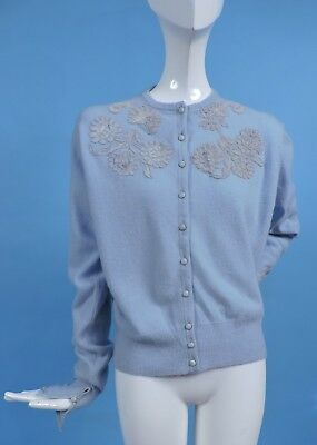 Vintage 1950'S Baby Blue Soft Cashmere Sweater 4 Dress W Lace Inserts