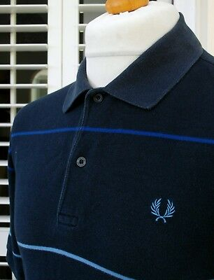 Fred Perry Navy Striped Pique Polo - L - Mod Ska Scooter Casuals Workwear Skins