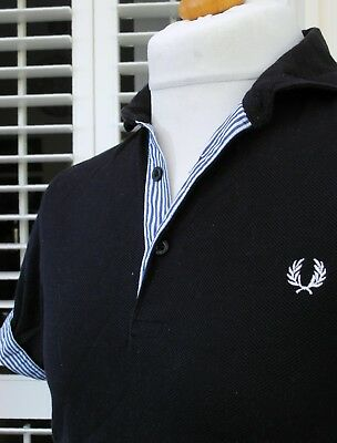 Fred Perry Navy Striped Trim Slim Polo - S - Mod Ska Scooter Casuals Workwear