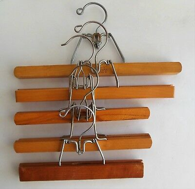 Lot of 5 Vintage Wood All Metal Clamp Style Hangers Skirts Snow Pants Setwell GG