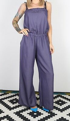 Jumpsuit Plain Wide Leg UK 10 - 12 Small Medium  All in one 90's (B3O)