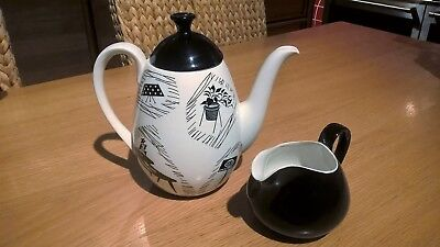 Ridgway Homemaker Metro Coffee Pot & Black Milk Jug