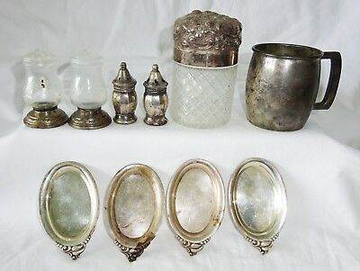 10x Vintage US Sterling Silver & Glass Mixed Lot by Gorham, Lunt etc (Cro)
