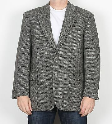 "Harris Tweed 42"" SHORT Medium Large  Jacket Blazer Grey Brown   (H5L)"
