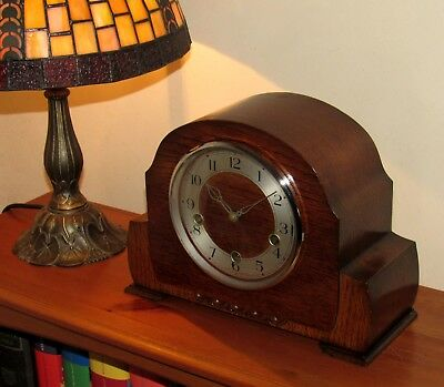 Delightful Smiths Westminster Chiming Mantle Clock In Very Good Cosmetic Shape