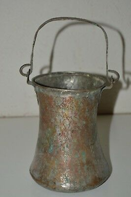 Aged Vintage Old Crude Metal Etched IRAN Pail Kettle Pot Cauldron Bucket Copper