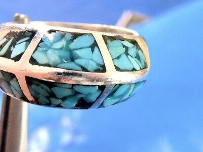 Vintage Fine Sterling Silver Natural Mined Turquoise Ladies Ring Sz 6.5 Sterling