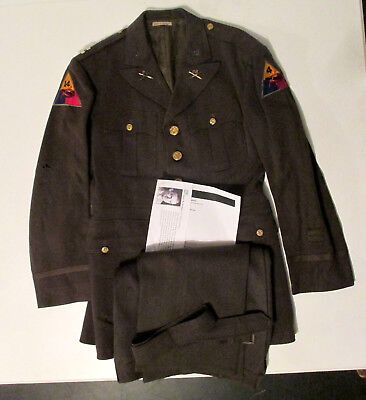 WW2 Armored Officer Service Tunic & Trousers Named 4th 14th Armor KY Silver Star