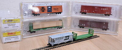 6 Stk. Micro Trains US-Güterwagen (Box-Car) Burlington Northern / unbespielt / Z