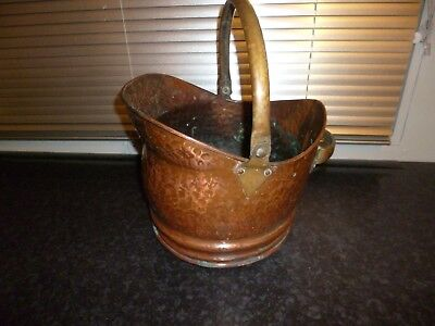Antique /  Vintage Copper And Brass Coal Scuttle