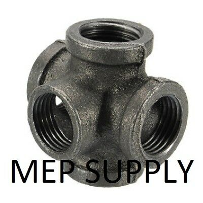 "1"" 5 Way 5-Way CROSS TEE BLACK MALLEABLE IRON fitting pipe npt Decor Style"