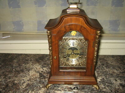 Antique Moon Phase Warmink Mantel/Carriage Clock with key.Ship motif.Soft Chimes