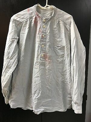 "Light Blue White Stripe Mountain Man Cowboy Civil War Shirt 50"" Chest"