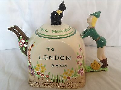Large Rare 1940 Bancroft And Bennett Collectable Novelty Teapot Dick Whittington