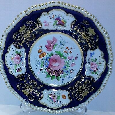 Antique Royal Crown Derby Hand Painted Floral And Gilt  Plate C.1811-1820