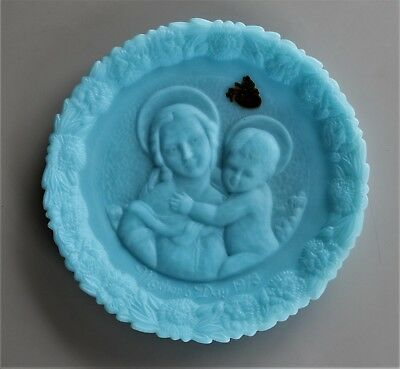 1973 Fenton blue glass 'Mother's Day' dish.