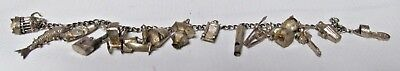 Nice Old / Antique Silver Marked Oriental Theme Charm Bracelet with 15 Charms