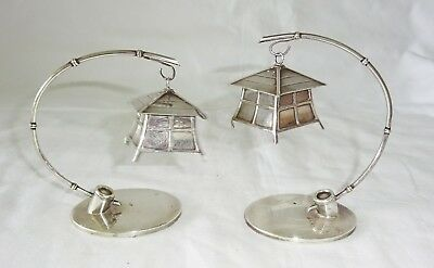 Pair Japanese 950 Sterling Silver Bird House Motif Salt & Pepper Shakers (Lon)