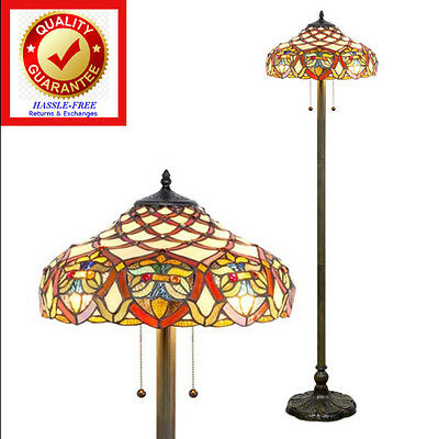 Tiffany style vintage reading floor lamp torchiere star red stained tiffany style floor lamp reading floor lamp vintage antique style aloadofball Image collections