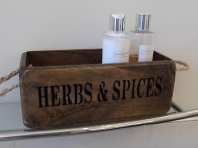 Vintage Style Wood Box Storage Crate Trug Herbs And Spices Rustic Rope Handles