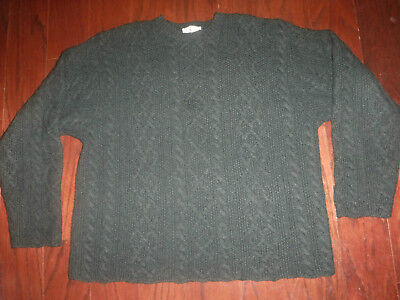 Vtg J Crew Hunter Green Cable Wool Boxy Pullover Sweater Mens Oversize Xl