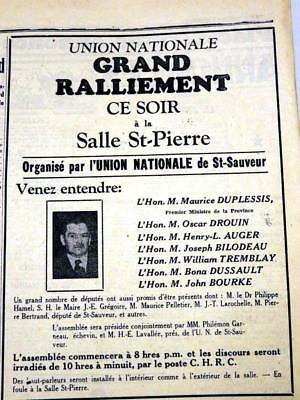 1936 Rare Maurice Duplessis Union Nationale Election Ad Qqq 10X8
