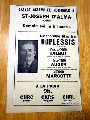 1952 Maurice Duplessis Union Nationale Ad Qqq 10X8