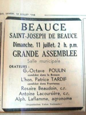 1948 Union Nationale Duplessis Election Ad 4.4X4.2