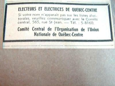 1948 Union Nationale Duplessis Election Ad 5.2X4.2