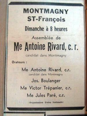 1948 Union Nationale Duplessis Election Ad 6.2X4.3