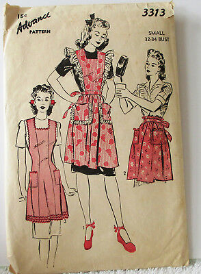 Vintage Advance Sewing Pattern 3313 Misses Full Apron Sz S 14-16 B32-34 1940s
