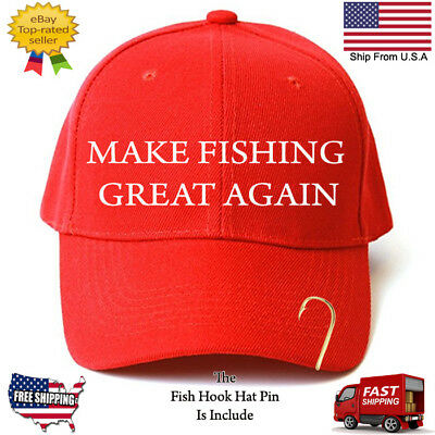 Make Fishing Great Again Trump Parody Funny Embroidered Red Hat With Hook Pin