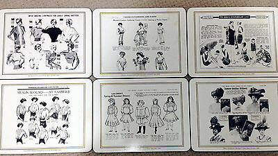 ♡ FREE POST 6 PLACE MATS LADIES FASHIONS 1908 -1950s NEW OLD STOCK