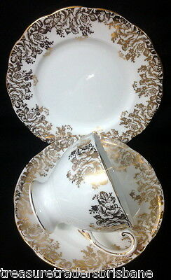 Royal Standard Trio Cup Saucer Plate Gold Chintz Filagree On White Hn 763L