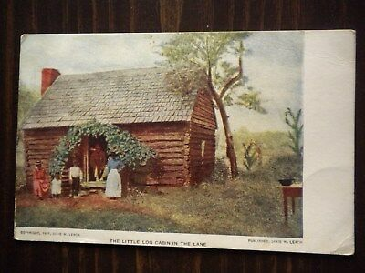 Vintage Little Log Cabin In The Lane Negro Family Post Card Dixie W. Leach