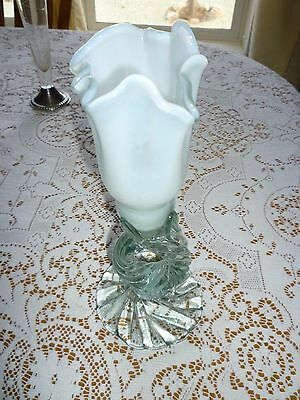 Hand Blown Vase/ Candle Holder Aqua Twisted Handcrafted Glass