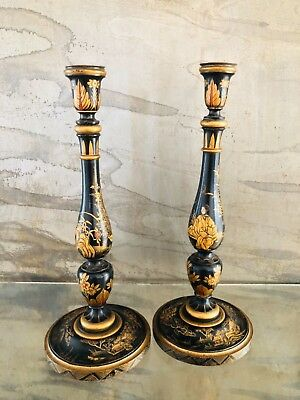 Pair of stunning early 1900's Japanned oriental lamp bases