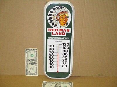 RED MAN Chewing Tobacco - THERMOMETER SIGN - Not Faded - Made USA - Indian Chief