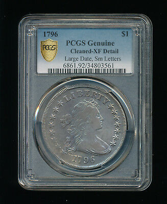 1796-P Large Date Small Letters Draped Bust Silver Dollar $1 PCGS Cleaned XF Det