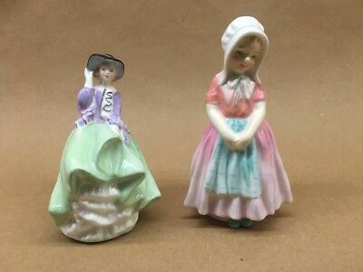 "LOT of 2 Royal Doulton Ladys ""Tootles"" ""Top O The Hill"" Figurine No reserve L@@K"