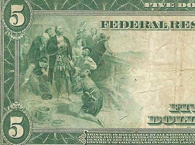 LARGE 1914 $5 DOLLAR BILL FEDERAL RESERVE MINNEAPOLIS NOTE CURRENCY MONEY Fr 876