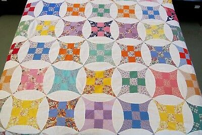 GRAPHIC Vintage Feed Sack Hand & Machine Set CURVED NINE PATCH Quilt TOP; Full