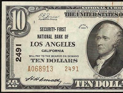 Au 1929 $10 Dollar Los Angeles Security First National Bank Note Currency 2491