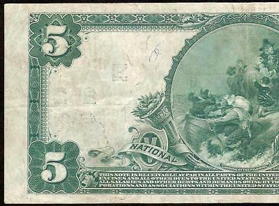 Large 1902 $5 Dollar Bill Pittsburgh National Bank Note Currency Big Paper Money